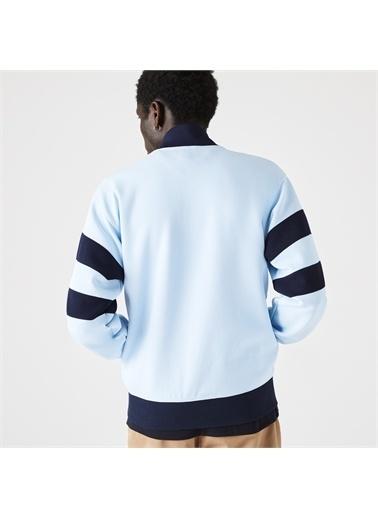 Lacoste Lacoste Heritage Erkek Classic Fit Fermuarlı Renk Bloklu Mavi Sweatshirt Mavi